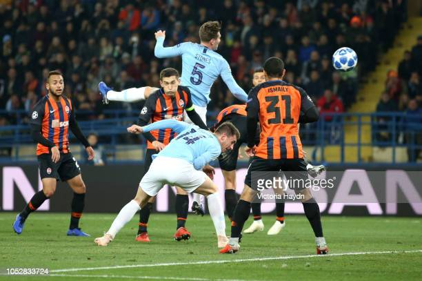 Aymeric Laporte of Manchester City scores his team's second goal during the Group F match of the UEFA Champions League between FC Shakhtar Donetsk...