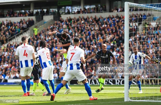 Aymeric Laporte of Manchester City scores his team's second goal during the Premier League match between Brighton & Hove Albion and Manchester City...