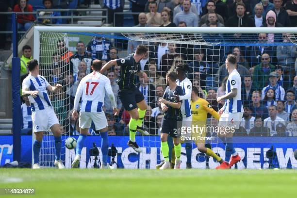 Aymeric Laporte of Manchester City scores his team's second goal during the Premier League match between Brighton Hove Albion and Manchester City at...