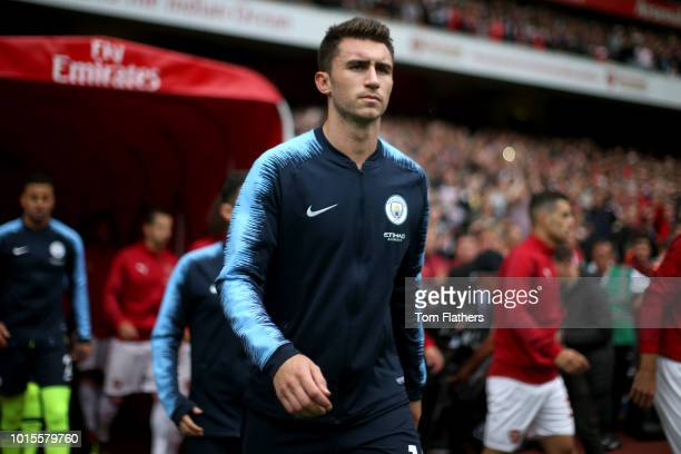 Aymeric Laporte of Manchester City walks out prior to the Premier League match between Arsenal FC and Manchester City at Emirates Stadium on August...