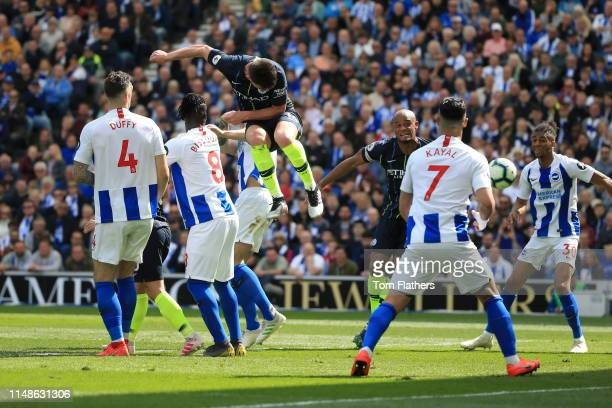 Aymeric Laporte of Manchester Cityscores his team's second goal during the Premier League match between Brighton & Hove Albion and Manchester City at...