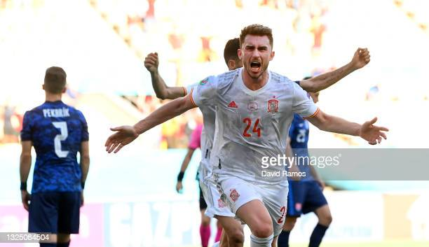 Aymeric Laporte of Spain celebrates after scoring their side's second goal during the UEFA Euro 2020 Championship Group E match between Slovakia and...