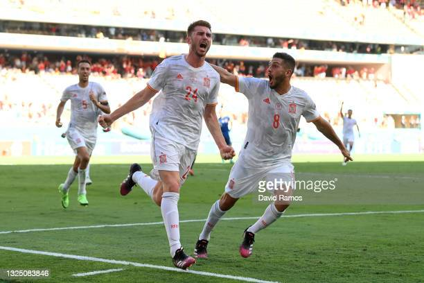 Aymeric Laporte of Spain celebrates with Koke after scoring their side's second goal during the UEFA Euro 2020 Championship Group E match between...