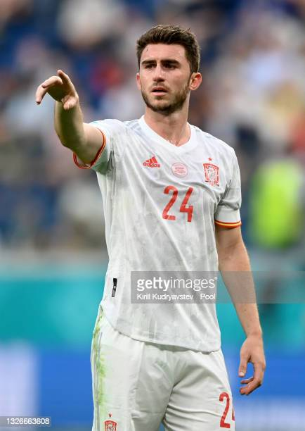 Aymeric Laporte of Spain gestures during the UEFA Euro 2020 Championship Quarter-final match between Switzerland and Spain at Saint Petersburg...