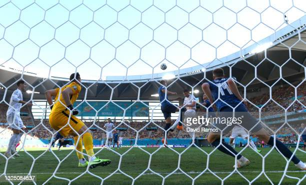 Aymeric Laporte of Spain scores their side's second goal past Martin Dubravka of Slovakia during the UEFA Euro 2020 Championship Group E match...