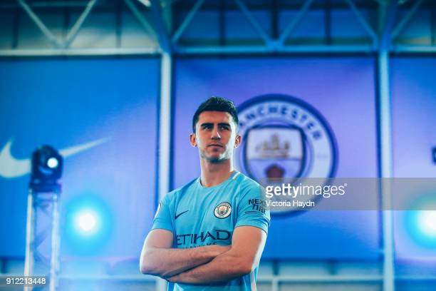 Aymeric Laporte takes part in his first photoshoot at the City Football Academy on January 30 2018 in Manchester England