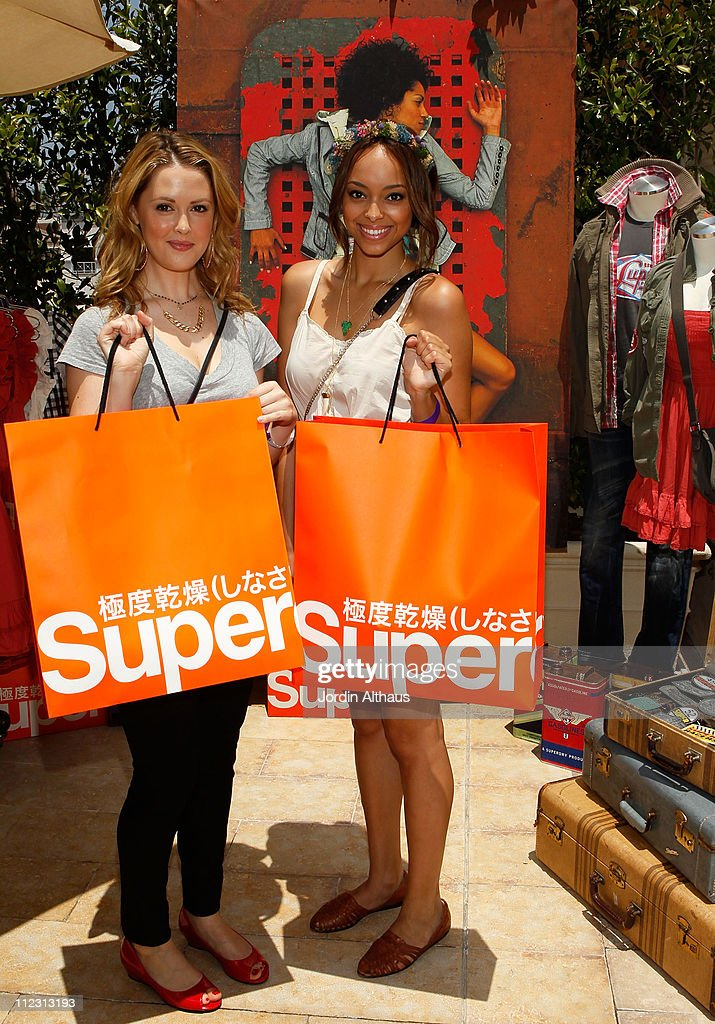 Aynsley Bubbico (L) and Amber Stevens poses with Superdry at the Kari Feinstein MTV Movie Awards Style Lounge held at Montage Beverly Hills on June 3, 2010 in Beverly Hills, California.