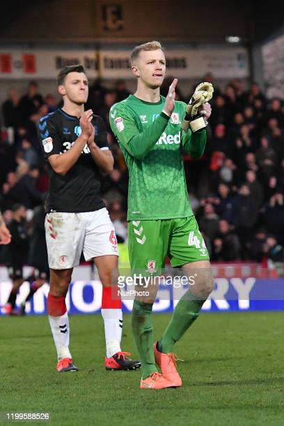 Aynsley Pears of Middlesbrough applauds fans after the Sky Bet Championship match between Brentford and Middlesbrough at Griffin Park on February 8...