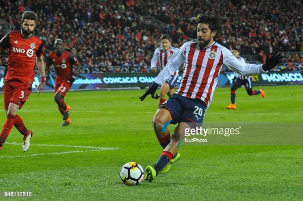 Ayo Akinola during the 2018 CONCACAF Champions League Final match between Toronto FC and CD Chivas Guadalajara at BMO Field in Toronto Canada on...
