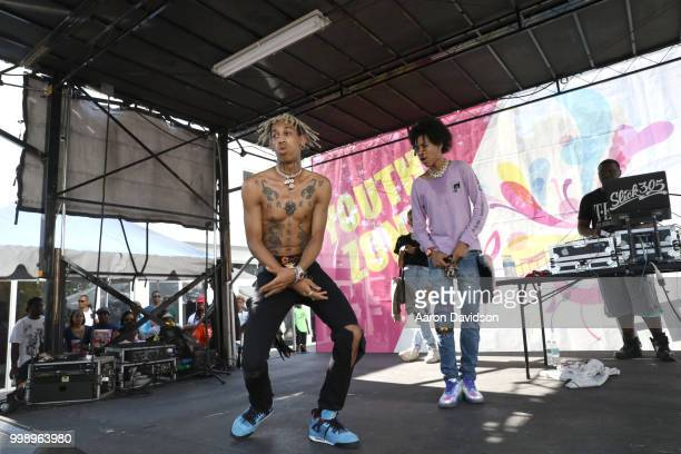 Ayo and Teo perfom on stage during the Overtown Music Arts Festival 2018 on July 14 2018 in Miami Florida