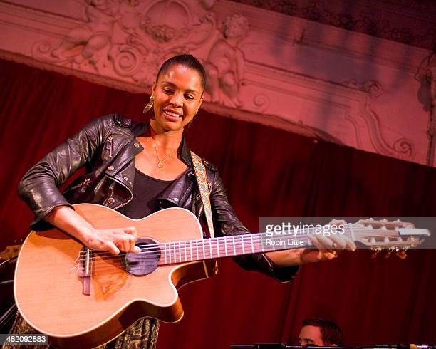Ayo performs on stage at Bush Hall on April 2 2014 in London United Kingdom