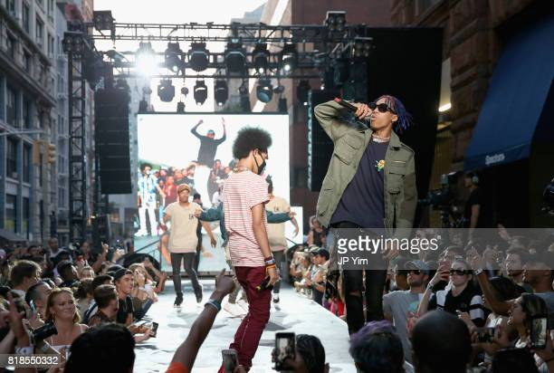Ayo Teo perform onstage during the Steve Aoki and BUILD Series DIM MAK Collection SS18 'PARADISE FOUND' runway show and 'KOLONY' album release event...
