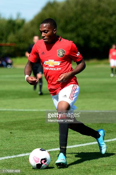 Ayodeji Sotona of Manchester United U18s in action during the U18 Premier League match between Manchester United U18s and Blackburn Rovers U18s at...