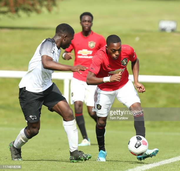 Ayodeji Sotona of Manchester United U18s in action during the U18 Premier League match between Manchester United U18s and Derby County U18s at Aon...
