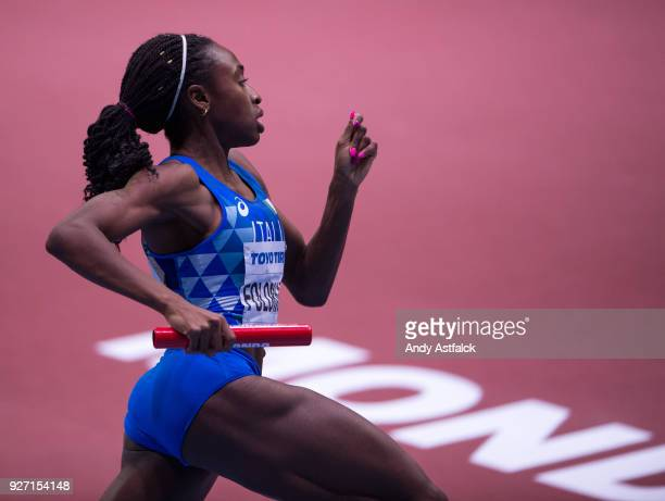 Ayomide Folorunso of Italy during the Women's 4x400m Final on Day 4 of the IAAF World Indoor Championships at Arena Birmingham on March 4 2018 in...