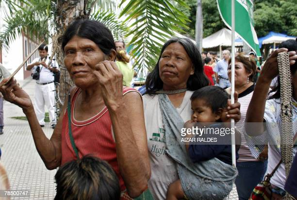 Ayoreo indigenous women wait for Santa Cruz governor Ruben Costas outside the prefecture building 15 December 2007 in Santa Cruz Bolivia Costas gave...
