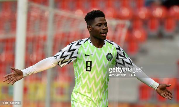 Ayotomiwa DeleBashiru of Nigeria celebrates after scoring his team's third goal during the 2019 FIFA U20 World Cup group D match between Qatar and...
