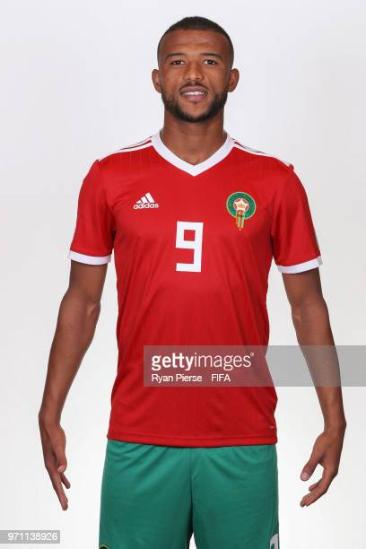 Ayoub El Kaabi of Morocco poses during the official FIFA World Cup 2018 portrait session on June 10 2018 in Voronezh Russia