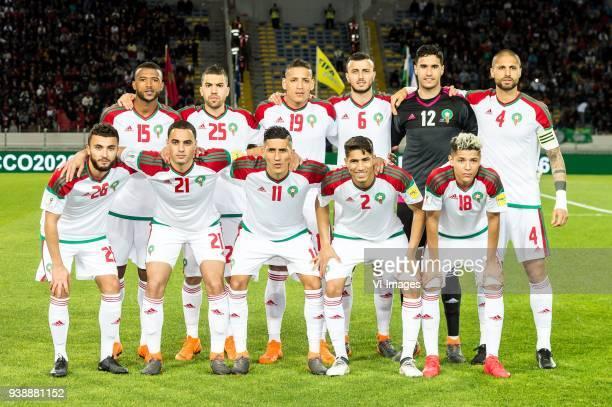Ayoub Elkaabi of Morocco Oualid Elhajam of Morocco Yacine Bammou of Morocco Ghanem Saiss of Morocco goalkeeper Munir Elkajoui of Morocco Merouane...