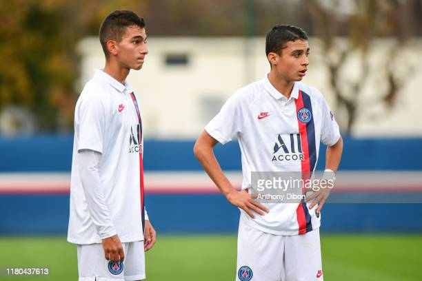 Ayoub YOUSFI AMKADMI and Kays RUIZ of PSG during the Youth League match between Paris Saint Germain and Bruges at Camp des Loges on November 6 2019...
