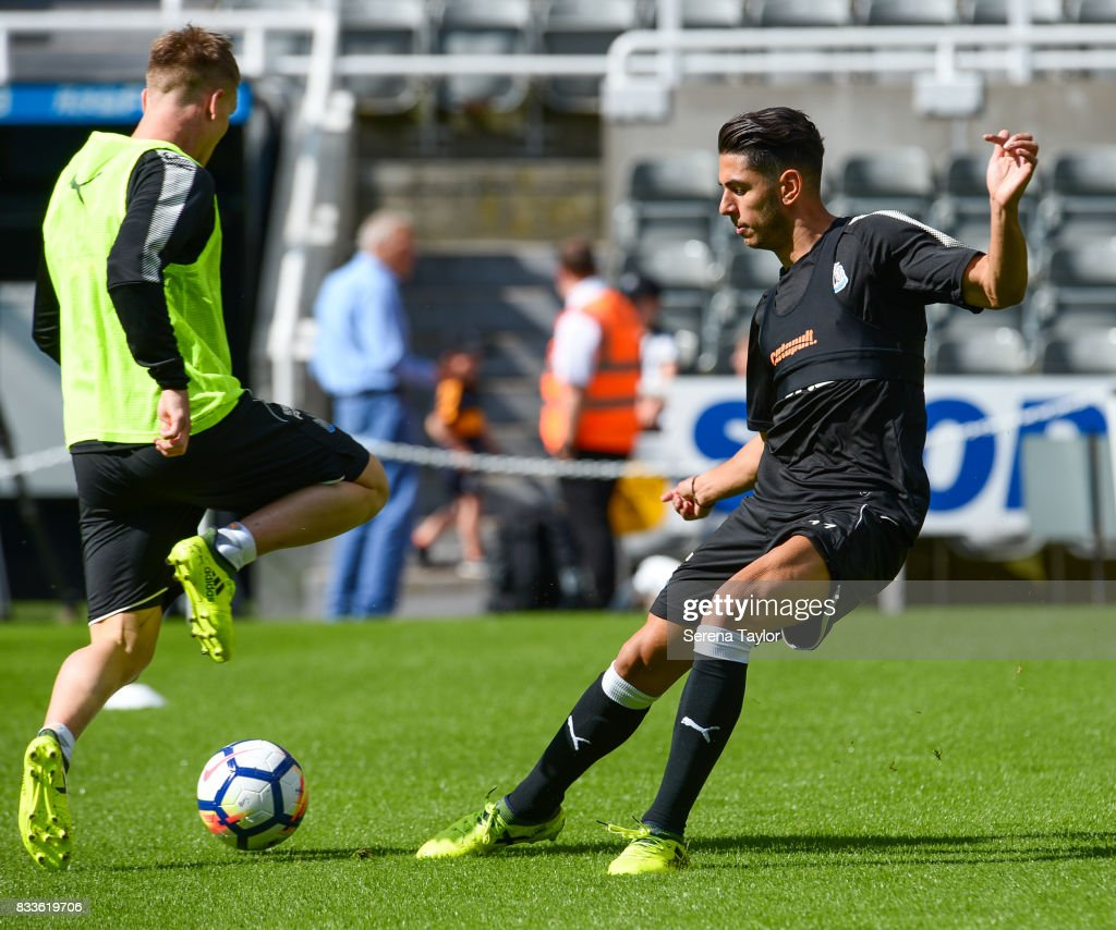 Ayoze Perez (R) and Matt Ritchie (L) during a Newcastle United Open Training session at St.James' Park on August 17, 2017, in Newcastle upon Tyne, England.
