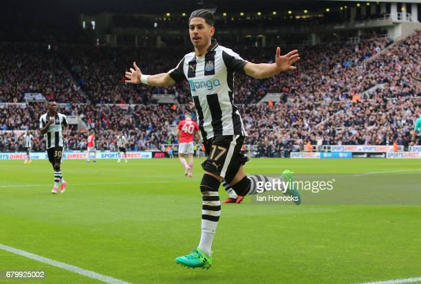 Ayoze Perez celebrates scoring the first goal for Newcastle during the Sky Bet Championship match between Newcastle United and Barnsley at St James'...