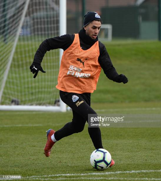 Ayoze Perez controls the ball during the Newcastle United Training Session at the Newcastle United Training Centre on March 22 2019 in Newcastle upon...