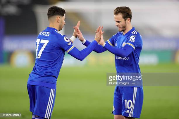 Ayoze Perez of Leicester City and James Maddison of Leicester City during the Premier League match between Leicester City and West Bromwich Albion at...