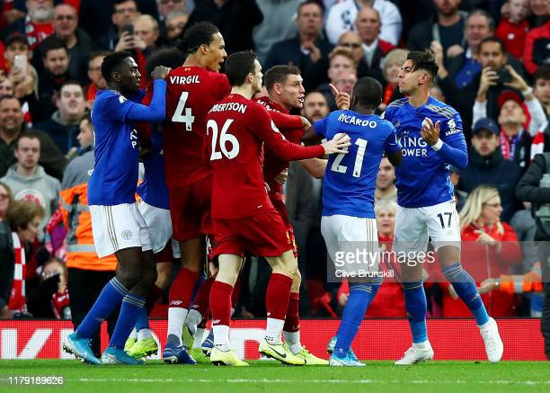Ayoze Perez of Leicester City argues with Liverpool players at the end of the match after the Premier League match between Liverpool FC and Leicester...