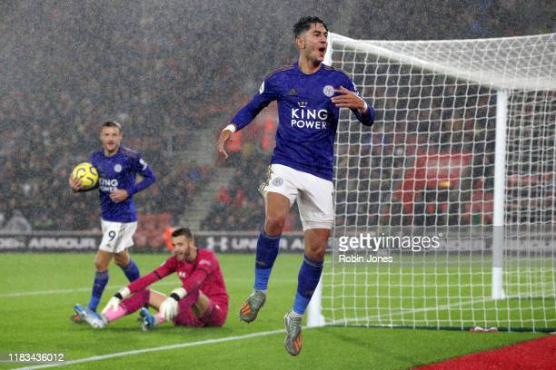 Ayoze Perez of Leicester City celebrates after he scores a goal to make it 40 during the Premier League match between Southampton FC and Leicester...
