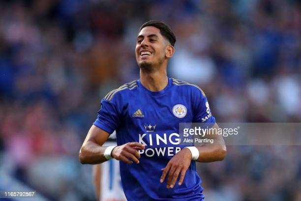 Ayoze Perez of Leicester City celebrates after scoring his sides first goal during the Pre-Season Friendly match between Leicester City and Atalanta...