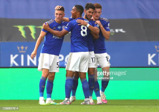 Ayoze Perez of Leicester City celebrates after scoring his sides first goal with Harvey Barnes Youri Tielemans and Luke Thomas of Leicester City...