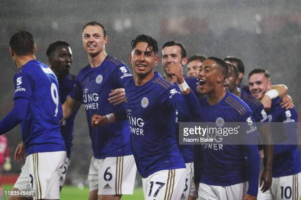 Ayoze Perez of Leicester City celebrates after scoring his team's third goal during the Premier League match between Southampton FC and Leicester...