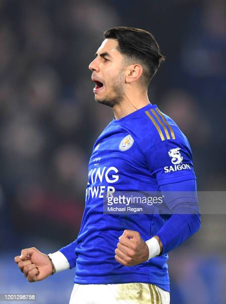 Ayoze Perez of Leicester City celebrates his sides third goal during the Premier League match between Leicester City and West Ham United at The King...
