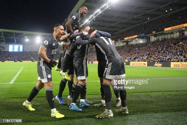 Ayoze Perez of Leicester City celebrates with his team mates after scoring to make it 0-1 during the Premier League match between Brighton & Hove...