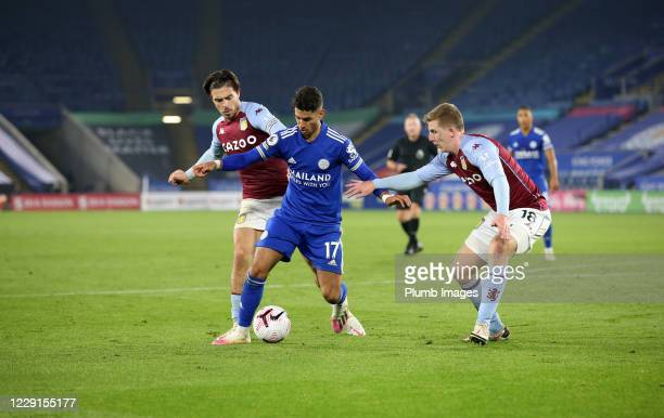 Ayoze Perez of Leicester City in action with Jack Grealish of Aston Villa and Matt Targett of Aston Villa during the Premier League match between...
