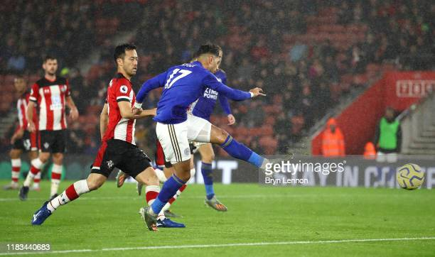 Ayoze Perez of Leicester City scores his team's sixth and his hatrick goal as Maya Yoshida of South ampton reacts during the Premier League match...