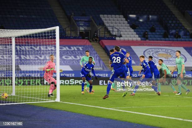 Ayoze Perez of Leicester scores but the goal is called offside and disallowed during the Premier League match between Leicester City and Everton at...