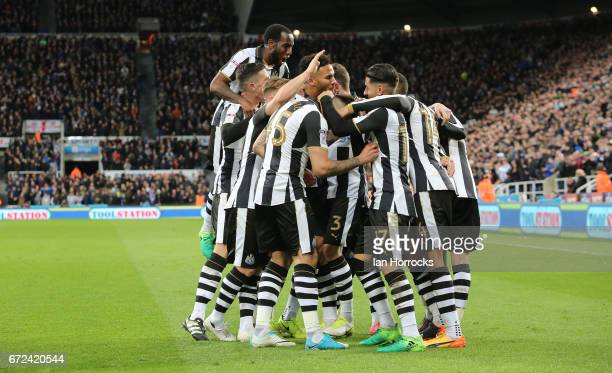 Ayoze Perez of Newcastle celebrates after he scores the forth for his team during the Sky Bet Championship match between Newcastle United and Preston...