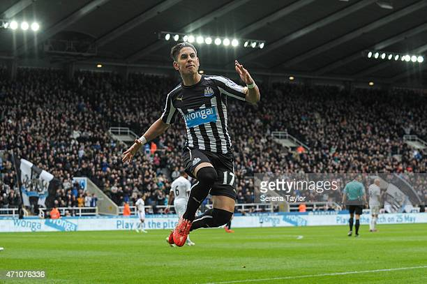 Ayoze Perez of Newcastle celebrates by jumping in the air after scoring the opening goal during the Barclays Premier League match between Newcastle...