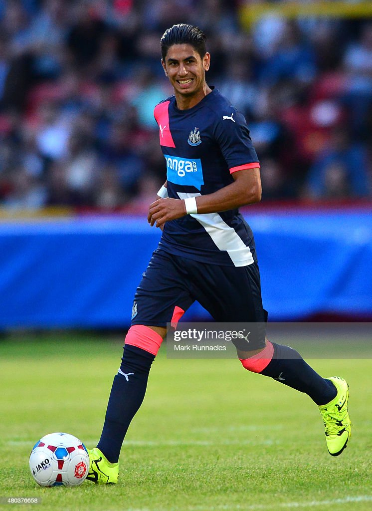 Ayoze Perez of Newcastle in action during the pre season friendly match between Gateshead and Newcastle United at Gateshead International Stadium on July 10, 2015 in Gateshead, England.