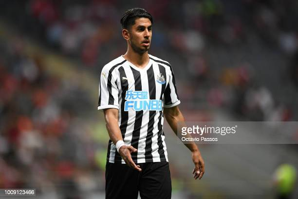 Ayoze Perez of Newcastle reacts during the Preseason friendly between SC Braga and Newcastle on August 1 2018 in Braga Portugal