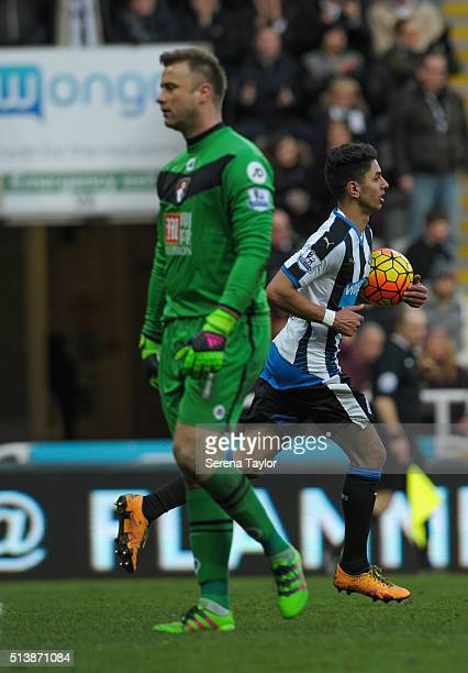 Ayoze Perez of Newcastle runs back to the centre circle with ball under arm after scoring Newcastle's only goal during the Premier League Match...