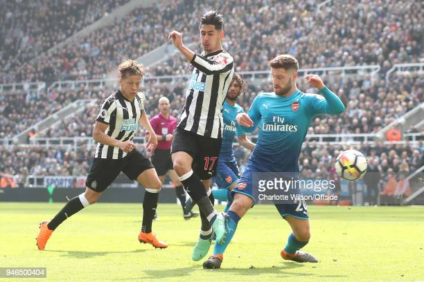 Ayoze Perez of Newcastle scores their 1st goal during the Premier League match between Newcastle United and Arsenal at St James Park on April 15 2018...