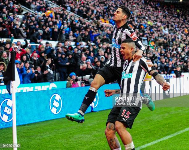 Ayoze Perez of Newcastle United and Kenedy celebrate after Ayoze scores the opening goal during the Premier League Match between Newcastle United and...