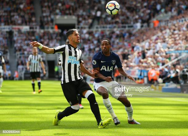 Ayoze Perez of Newcastle United and Kyle WalkerPeters of Tottenham Hotspur battle for possession during the Premier League match between Newcastle...