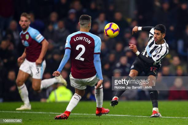 Ayoze Perez of Newcastle United and Matthew Lowton of Burnley during the Premier League match between Burnley FC and Newcastle United at Turf Moor on...