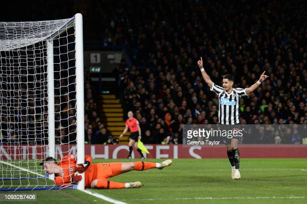 Ayoze Perez of Newcastle United celebrates after Ciaran Clark scores Newcastle's equalizing goal during the Premier League match between Chelsea FC...