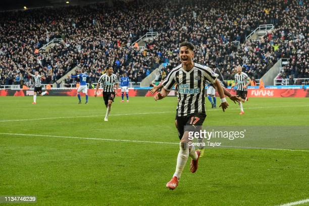 Ayoze Perez of Newcastle United celebrates after he scores the winning goal during the Premier League match between Newcastle United and Everton FC...