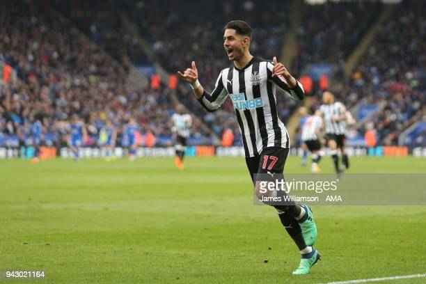 Ayoze Perez of Newcastle United celebrates after scoring a goal to make it 2-0 during the Premier League match between Leicester City and Newcastle...